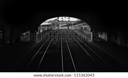 the old railway station - stock photo