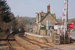 The old railway station building at Eggesford in mid Devon UK on the picturesque line running through the heart of Devon linking Exeter in the south with Barnstaple in the north of the county