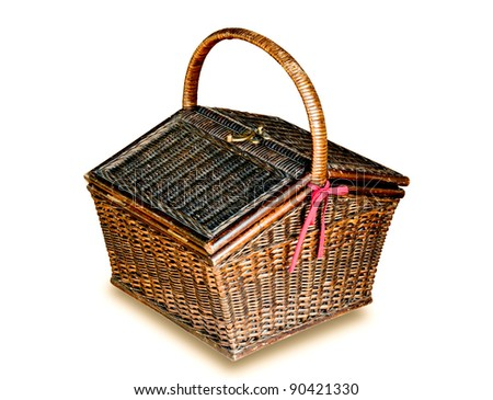 The Old rattan basket thai style isolated on white background