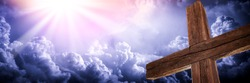 The Old Rugged Cross With Clouds And Glorious Light From Heaven - Crucifixion/Resurrection Of Jesus Christ Concept