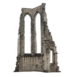 The old ruins of a building, white background, isolated.