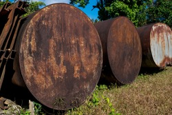 The old rusty water tank at  E-Thong village, Pilok,Thong Pha Phum National Park, Kanchanaburi province, Thailand.