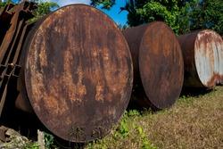 The old rusty water tank at  E-Thong village, Pilok,Thong Pha Phum National Park, Kanchanaburi province, Thailand.