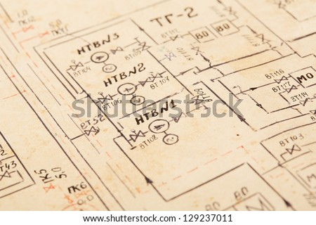 The old scheme drawn with a feather - stock photo