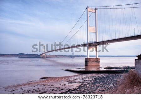 The old Severn Bridge on the England Wales border #76323718