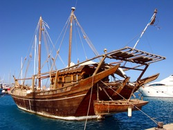 The old ship in the Egyptian sea port