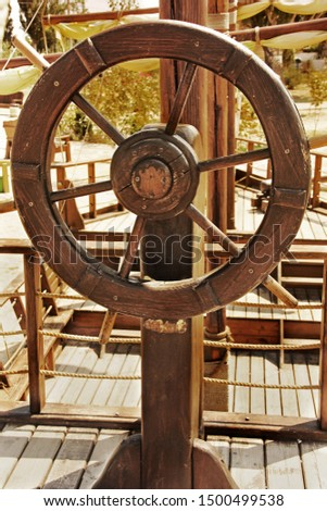 The old ship. The helm of the ship. Ship steering wheel