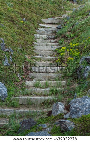 The old stone steps on a hill rising on either side grass. Stone stairs up a grass hill