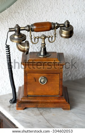 The old telephone in style of a retro #334602053
