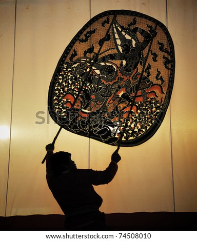 The old Thai traditional shadow puppet in Ratchaburi