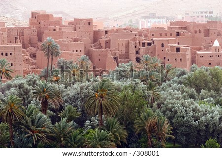 the old Tineghir city in palm grove, morocco