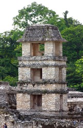 The old tower on the ruins of Palenque, Mexico