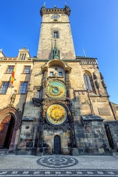 The Old Town Hall Tower with the Horologe, the medieval astronomic clock,  Prague, Czech Republic