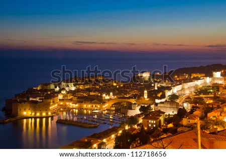 The Old Town of Dubrovnik at sunset, Croatia