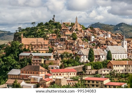 The old town of Fianarantsoa, Madagascar highlands - stock photo