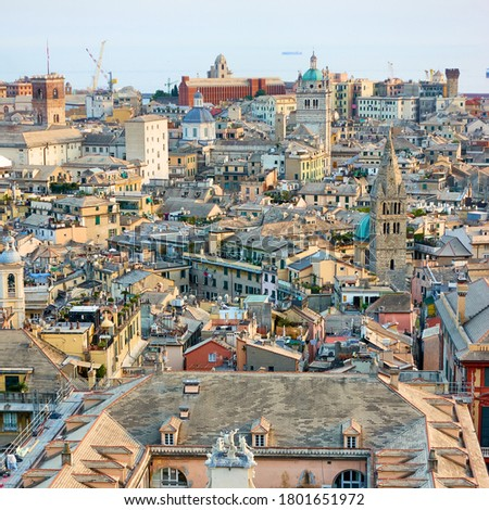 The old town of Genoa from a view point, Italy Photo stock ©