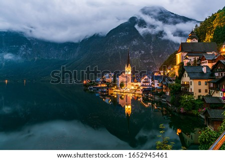 The old town of Hallstatt on the namesake lake, one of the Unesco world heritage sites in Austria