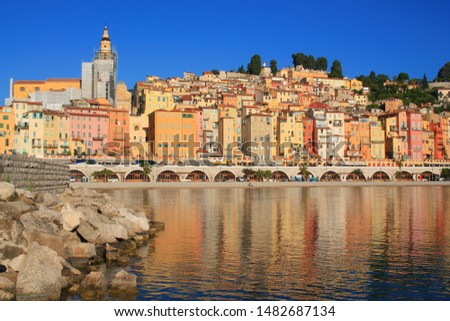 The old town of menton with its beautiful colorful facades, France