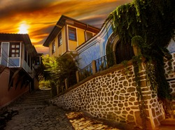 the old town of Plovdiv in the summer