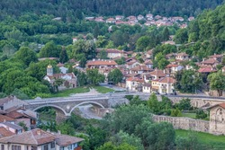 The old town of Veliko Tarnovo, City of the Tsars, on the Yantra River, Bulgaria. It was the capital of the Second Bulgarian Kingdom