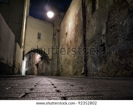 The old town of Vilnius, Lithuania, photographed at night.