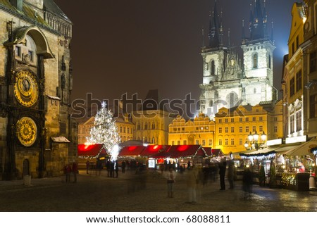 The Old Town Square at winter night in the center of Prague City