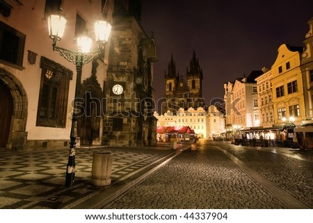 The Old Town Square in Prague in night
