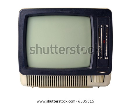 The old TV isolated on a white background
