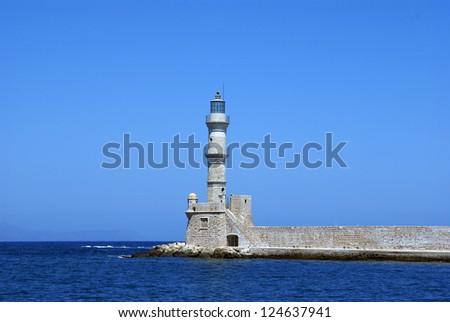 The old venetian lighthouse situated at Chania on the greek island of crete.