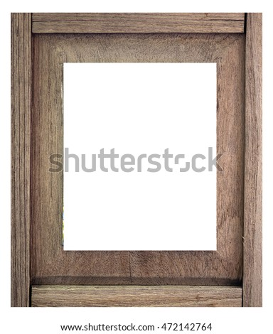 The old vintage wood picture frame isolated on white background