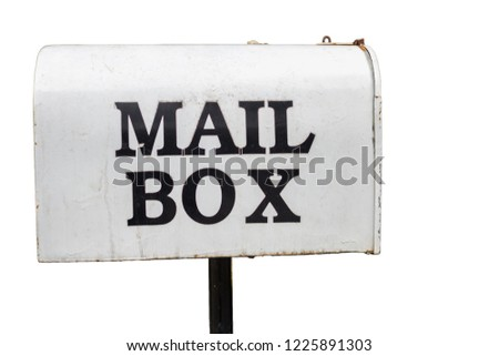 The old white mailbox is a vintage style mailbox that is used for long periods of time, resulting in dirt and rust caused by moisture, because the mailbox is installed in front of the house. clipping