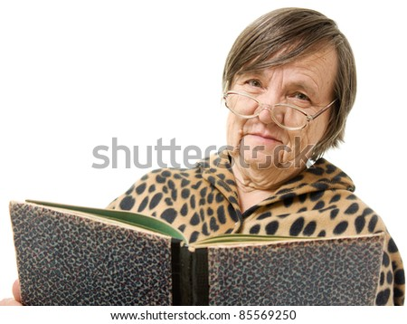 The old woman is reading a book on a white background