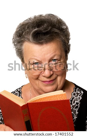 The old woman with the red book on a white background
