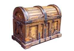 The old wooden chest is inhabited by iron, white background, isolate