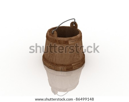 The old wooden tub. 3D - stock photo