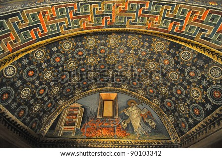 The oldest and most perfect mosaic monument, empress Galla Placida's Mausoleum, in Ravenna, Italy. Stunning scene showing the martyr St Lawrence next to the gridiron on which he burnt