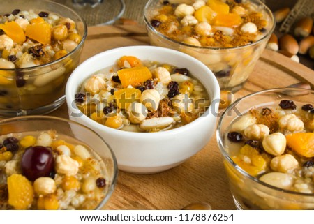 The Oldest Dessert In The World,Asure or Ashura(Noah Pudding)traditional dessert to serve on the 10th day of the Muslim month Muharrem, the first month of the Islamic calendar.