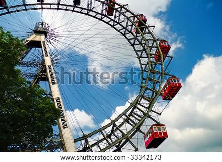 The oldiest Ferris Wheel in Vienna, Austria. Prater park - stock photo
