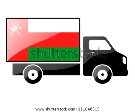 The Oman flag painted on the silhouette of a truck. glossy illustration