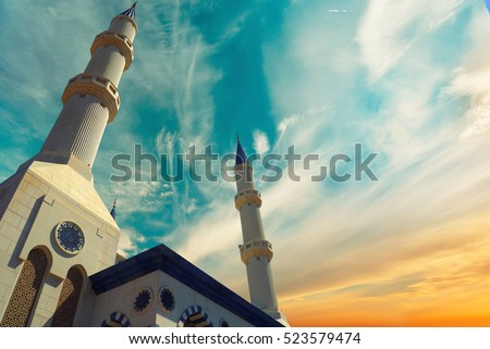 The Omar Al-khatab , Al farouk mosque, islamic background, Duabi - Shutterstock ID 523579474