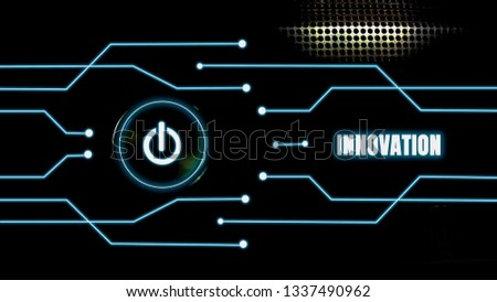 The on-off button glows on a black metal background And blue glow lines with innovation concept, the development of technology and the change of the world. with disruptive technologies #1337490962