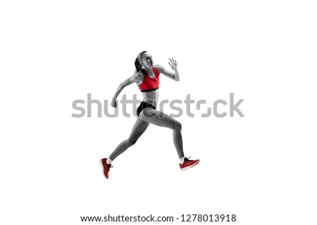 The one caucasian female silhouette of runner running and jumping on white studio background. The sprinter, jogger, exercise, workout, fitness, training, jogging concept. #1278013918