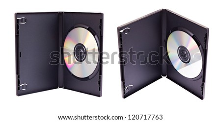 The open black plastic DVD case with matted internal surface and a DVD disk inside from two different views  isolated on white
