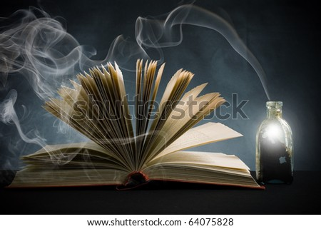 The open book and magic means. A symbol of magic and magic.