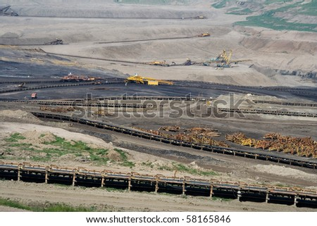 the open cast coal mine in Czech Republic