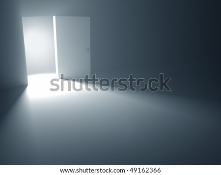 """The open door is a concept of the opportunity and hopefulness to reach the success. The chance to leave the dark room. """"Light at the End of the Tunnel"""" (saying)."""