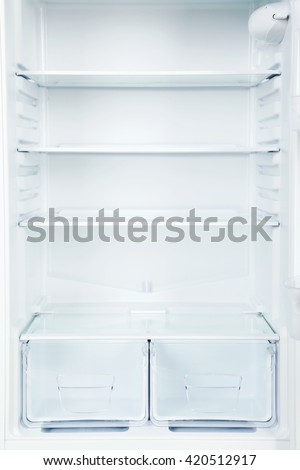 The open fridge with the shelves, close up