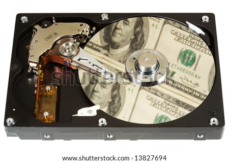 The open hard disk, reflection of dollars. Focus on a disk. Ñoncept information=money. Isolated on white.