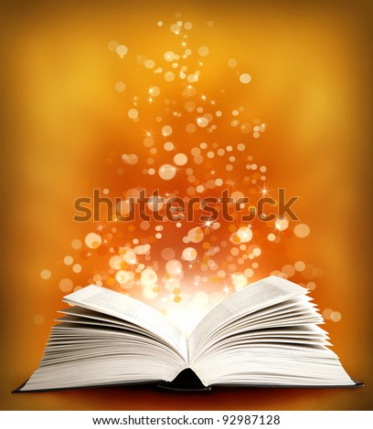 The  open Magic Book on an orange background
