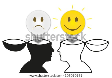 The Open Minded Model With On and Off Light Bulb Isolated on White Background - stock photo